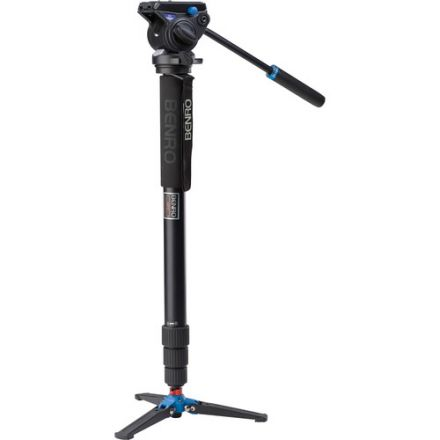 BENRO A49TDS4 SERIES 4 ALUMINUM MONOPOD WITH 3-LEG LOCKING BASE AND S4 VIDEO HEAD