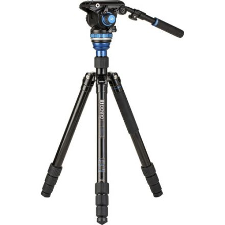 BENRO A3883TS6PRO REVERSE-FOLDING ALUMINUM TRAVEL TRIPOD WITH S6PRO FLUID VIDEO HEAD