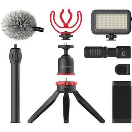 BOYA BY-VG350 SMARTPHONE VLOGGER KIT PLUS WITH BY-MM1+MIC, LED LIGHT, AND ACCESSORIES