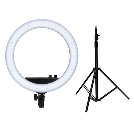 "NANLITE LS-170-5/8 LIGHT STAND+HALO 14U 14"" BI-COLOR RING LIGHT W/ CELLPHONE-GIFT BUNDLE"