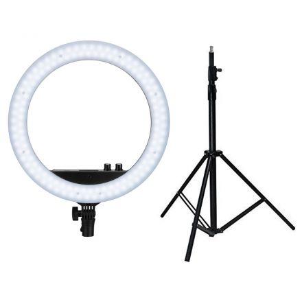 """NANLITE LS-170-5/8 LIGHT STAND+14"""" RING LIGHT WHITE-GIFT BUNDLE"""