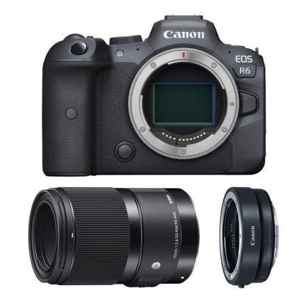 CANON EOS R6 MIRRORLESS DIGITAL CAMERA+SIGMA 70MM F2.8 DG MACRO+EF-EOS R MOUNT ADAPTER-BUNDLE