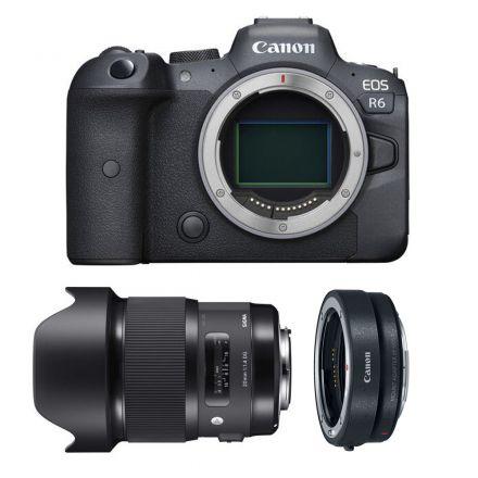 CANON EOS R6 MIRRORLESS DIGITAL CAMERA+ SIGMA 20MM F/1.4 DG +EF-EOS R MOUNT -BUNDLE