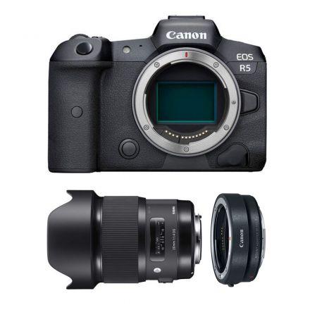 CANON EOS R5 MIRRORLESS DIGITAL CAMERA +SIGMA 20MM F/1.4 DG+EF-EOS R MOUNT-BUNDLE