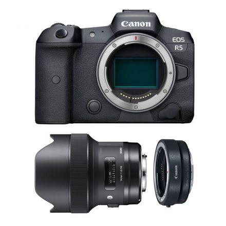 CANON EOS R5 MIRRORLESS DIGITAL CAMERA +SIGMA 14MM F/1.8 DG+ EF-EOS R MOUNT-BUNDLE