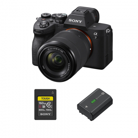 SONY ILCE-7M4K ALPHA A7 IV WITH 28-70MM LENS+ SONY CEA-G160T 160GB CF MEMORY CARD+P-FZ100 -ION BATTERY (2280MAH) FOR ALPHA CAMERAS-BUNDLE