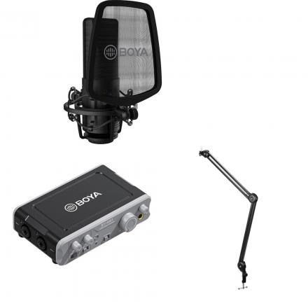 BOYA BY-AM1 DUAL-CHANNEL USB 2 AUDIO MIXER+ 35C-L 3.5MM+ BY-VG300 VLOG KIT-BUNDLE