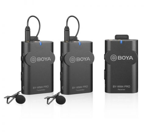 BOYA BY-WM4 PRO K2 DUAL CHANNEL 2.4G WIRELESS STUDIO CONDENSER MICROPHONE LAVALIER INTERVIEW MIC FOR IPHONE DSLR CAMERAS""