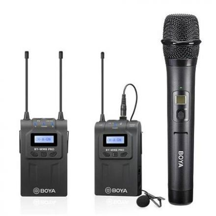 BOYA BY-WM8 PRO-K4 DUAL CHANNEL WIRELESS MIC KIT WITH BY-WHM8 HANDHELD AND RECEIVER