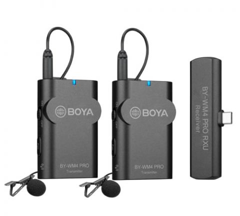 BOYA BY-WM4 K6 2.4 GHz WIRELESS MIC FOR ANDROID & OTHER TYPE-C DEVICES (RECEIVER & 2-TRANSMITTERS)