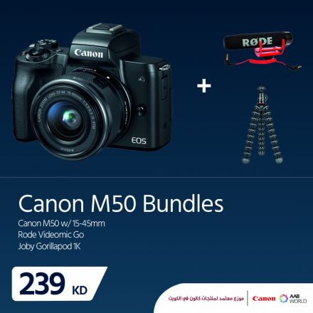 CANON M50+RODE VIDEOMIC GO+JOBY GORILLAPOD 1K