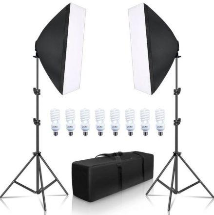 """FARSEEING FSH4KIT-2LIGHT W/ 8 LAMP 30W+2 SOFTBOX 50X70"""""""