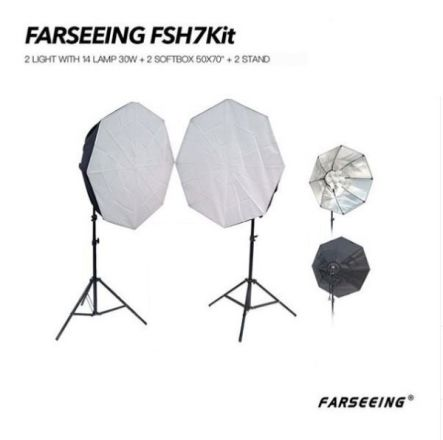 """FARSEEING FSH7KIT- 2 LIGHT WITH 14 LAMP 30W + 2 SOFTBOX 50X70"""" + 2 STAND"""