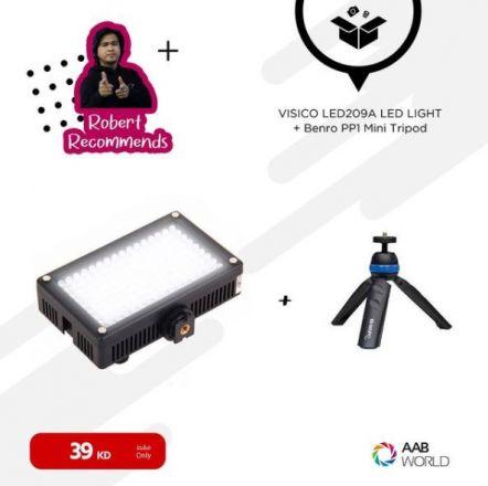 VISICO LED209ALIGHT+ BENRO PP1 WITH MOBILE HOLDER-BUNDLE
