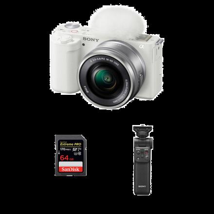 SONY ZV-E10L/WQ AP2 ZV-E10 WITH 16-50 L WHITE+ GP-VPT2BT+ SDXC 64GB UHS-1-BUNDLE