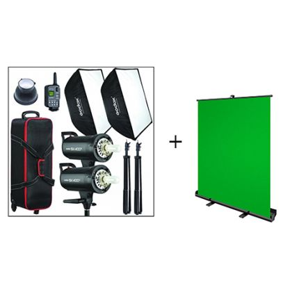 GODOX STUDIO FLASH SK400 W/ VISICO GREEN SCREEN BUNDLE OFFER