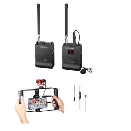 BOYA BY-WFM12 VHF+ 35C-USB C 3.5MM TO USB TYPE-C+BY-VG300 VLOG KIT -BUNDLE