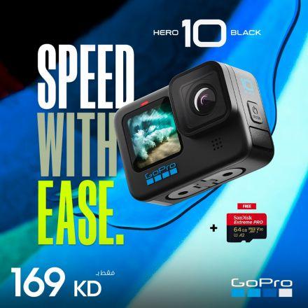 GOPRO HERO 10 (BLACK)+SANDISK MICRO 64GB UHS-1-GIFT BUNDLE