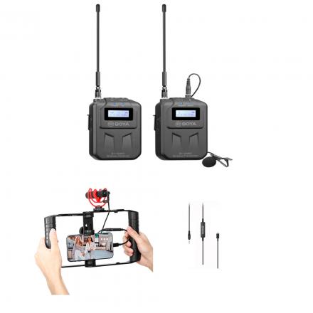 BOYA BY-WM6S UHS WIRELESS + BOYA 35C-L 3.5MM TO LIGHTNING CONNECTOR AUDIO CABLE+ BOYA BY-VG300 VLOG KIT -BUNDLE