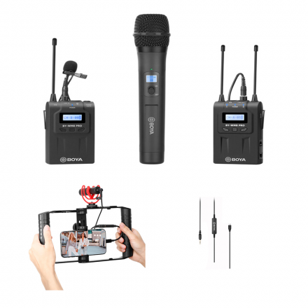 BOYA BY-WM8 PRO-K4 DUAL CHANNEL WIRELESS MIC KIT WITH BY-WHM8 +  35C-USB C 3.5MM C TYPE AUDIO CABLE+ BY-VG300 VLOG KIT WITH PHONE H S-BUNDLE