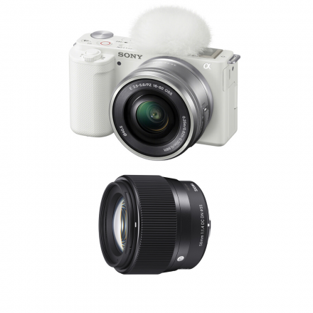 SONY ZV-E10L/WQ AP2 ALPHA WITH 16-50 LENS (WHITE)-SIGMA 56MM F/1.4 DC DN LENS FOR SONY E-BUNDLE