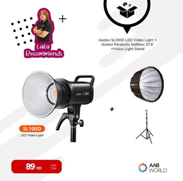 GODOX SL-100D LED LIGHT+ QR-P70 SOFTBOX+VISICO LIGHT STAND-BUNDLE
